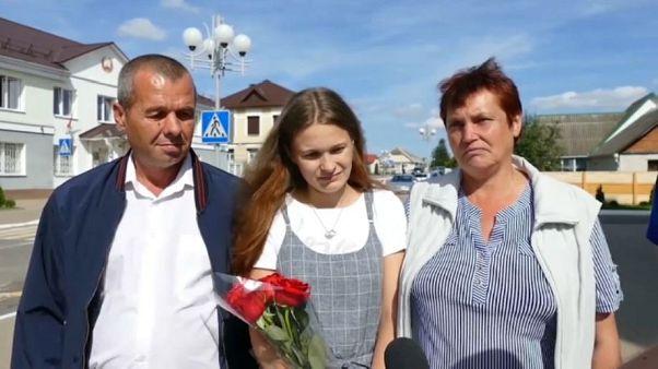Yulia Gorina, 24, is reunited with her parents Viktor and Lyudmila Moiseenko