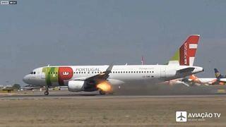 Incendio en el motor de un avión de TAP