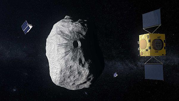 Ilustración de la nave HERA investigando el impacto