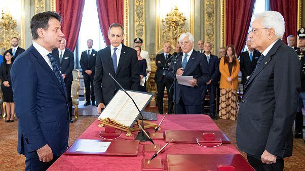 Italian President Sergio Mattarella and Prime Minister Giuseppe Conte at the Quirinal Palace in Rome, Italy, September 5, 2019.
