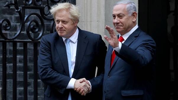 Watch: Netanyahu joins Johnson outside number 10 on surprise visit to London
