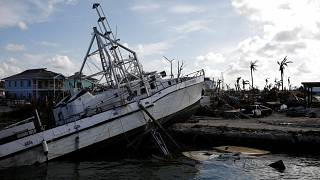 A destroyed boat is seen at a marina after Hurricane Dorian hit the Abaco Islands in Marsh Harbour
