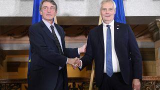 Davis Sassoli és Antti Rinne találkozója Helsinkiben