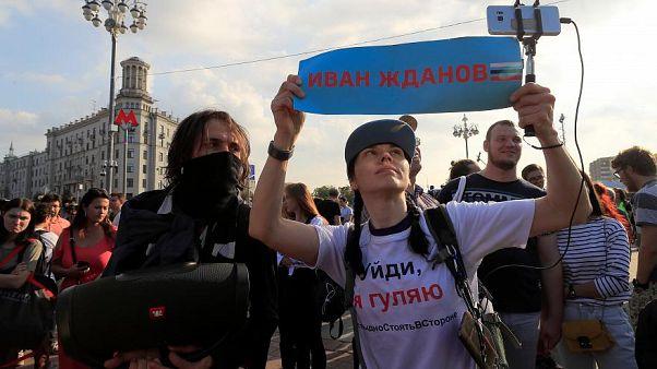 Die Menschen nehmen an einer Kundgebung teil, um freie und faire Wahlen und die Freilassung von Demonstranten zu fordern. 31. August 2019, Moskau