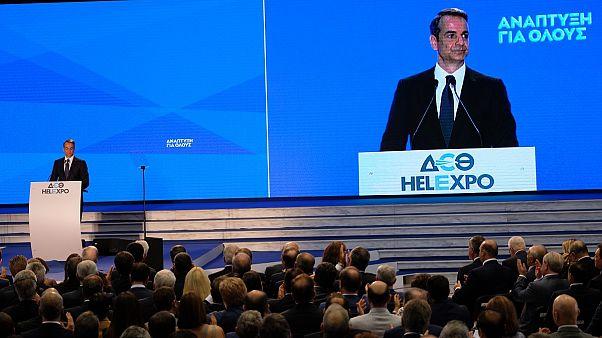 Ο πρωθυπουργός Κυριάκος Μητσοτάκης μιλάει κατά τη διάρκεια των εγκαινίων της 84ης ΔΕΘ
