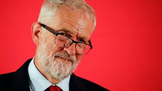 Britain's opposition Labour Party leader Jeremy Corbyn listens during a shadow cabinet meeting in Salford, Britain, September 2, 2019.