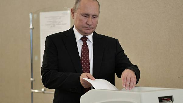 Russia's President Vladimir Putin casts his ballot at a polling station during the Moscow city parliament election in Moscow, Russia September 8, 2019.