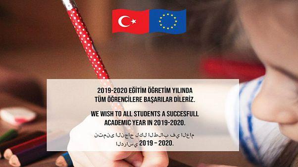 AB Türkiye Delegasyonu yeni öğretim yılı için Türkçe, Arapça ve İngilizce mesaj yayınladı