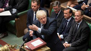 Britain's Prime Minister Boris Johnson speaks at the House of Commons in London, Britain September 3, 2019.