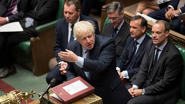 Britain's Prime Minister Boris Johnson speaks at the House of Commons in London, Britain September 3, 2019.