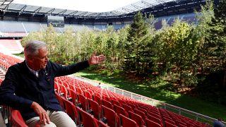 Un bosque en un estadio de fútbol