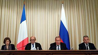 وزرای دفاع و امور خارجه روسیه و فرانسه در مسکو