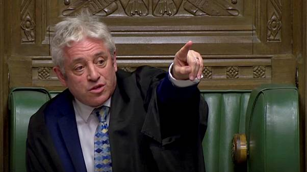 Speaker of the House John Bercow gestures as he speaks after tellers announced the results of the vote Brexit deal.