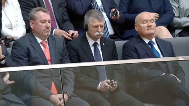 Hungarian Speaker Laszlo KÖVÉR listening in the Bundestag