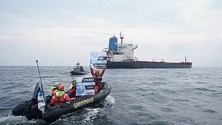 Greenpeace activists block a Mozambique cargo ship from unloading its load in Gdansk, Poland on September 9, 2019.
