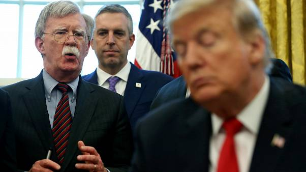 U.S. President Donald Trump and his national security advisor John Bolton (L) at the White House on  February 7, 2019.
