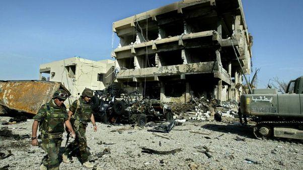 """Quel che restò dell'esplosione all'interno della Base """"Maestrale"""" a Nassiriya."""