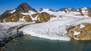 An aerial photo taken on August 17, 2019 shows a view of the Apusiajik glacier, near Kulusuk