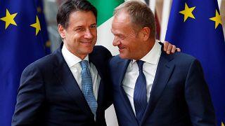 Le Premier ministre italien, Giuseppe Conte, et le président du Conseil européen, Donald Tusk