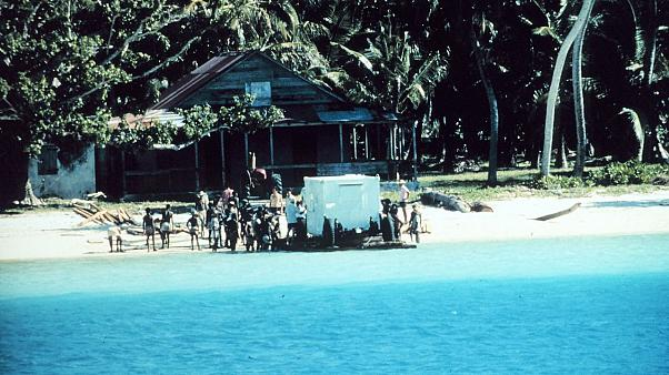 US crews bringing equipment onshore in the Chagos Islands in 1971