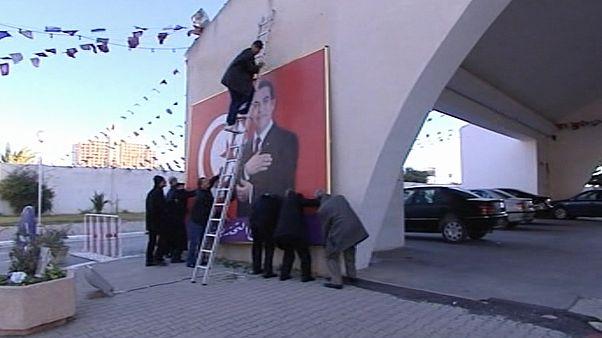 إنزال صورة كبيرة لرئيس تونس المخلوع زين العابدين بن علي - 2011