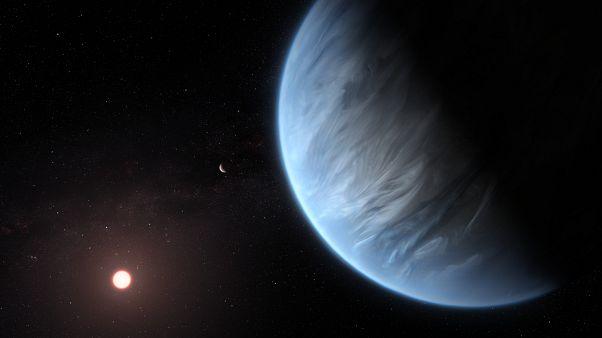 L'exoplanète K2-18b orbitant autour de la naine rouge K2-18, située dans la constellation du Lion, à 110 années-lumière du système solaire.
