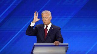 Former Vice President Joe Biden gestures during the 2020 Democratic U.S. presidential debate in Houston, Texas, U.S. September 12, 2019.