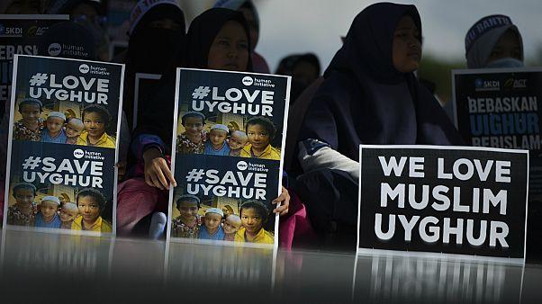 صورة أرشيفية لمظاهرة مناصرة لحقوق مسلمي الأيغور