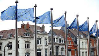 Belçika'nın başkenti Brüksel'deki Avrupa Birliği (AB) Komisyonu binası ve AB Bayrakları. ( Dursun Aydemir - Anadolu Ajansı )