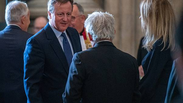 Britain's former Prime Minister David Cameron speaks with Speaker of the House of Commons, John Bercow during the memorial service for Lord Paddy Ashdown at Westminster Abbey.