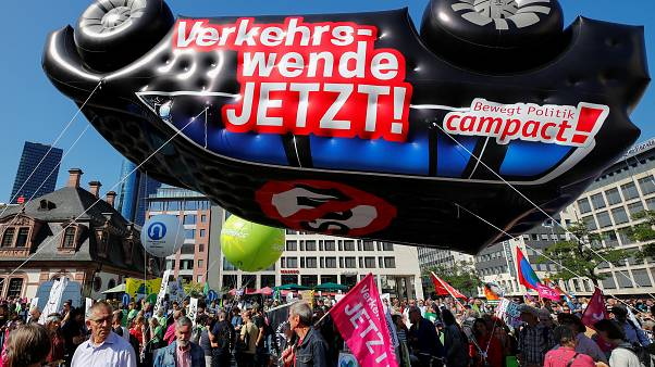 Climate protestors demonstrate at Frankfurt Motor Show