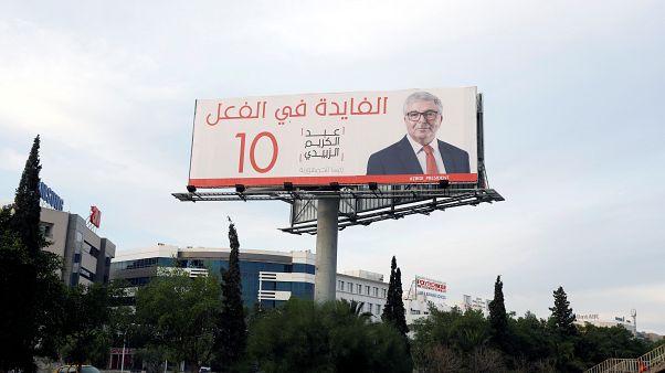إحدى صور الحملة الانتخابية للمرشح عبد الكريم الزبيدي في تونس 2019/09/11. زبير السويسي - رويترز
