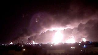 Пожар на НПЗ в Абкайке