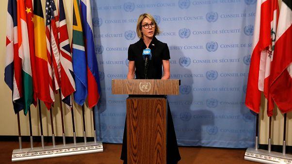 كيلي كرافت، المندوبة الأميركية في مجلس الأمن الدولي في مؤتمر صحافي في نيويورك