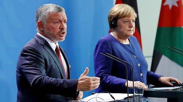 المستشارة الألمانية أنجيلا ميركل والملك الأردني عبد الله الثاني