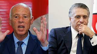 Tunus cumhurbaşkanlığı seçiminde adaylardan Kays Said (sol) ve Nebil el-Karvi (sağ) ikinci tura kaldı