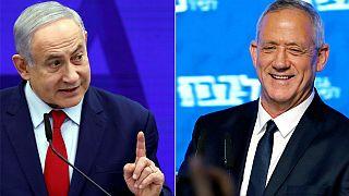 "Benjamin Netanyahu (Likud) e Benny Gantz (Azul e Branco) disputam ""Knesset"""