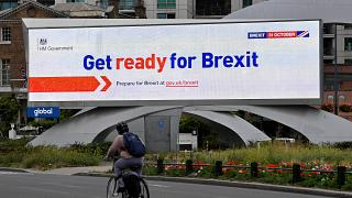 A billboard displays a UK government Brexit information awareness campaign in London on  September 11, 2019.