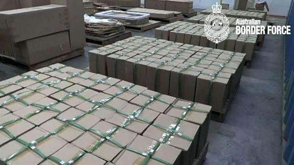 صورة للمخدرات المضبوطة نشرتها قوات حرس الحدود الأسترالية