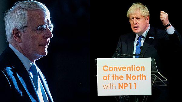 John Major (L) and Boris Johnson.
