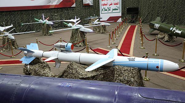 """صواريخ ومسيرات عرضها يوم أمس """"الإعلام الحربي الحوثي"""""""