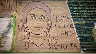 Greta Thunberg: Giant portrait of climate activist made in Italian field