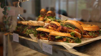 A selection of vegan bagels at Wave Cafe in Hackney