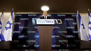 Benny Gantz, leader of Blue and White, delivers a statement before his party faction meeting in Tel Aviv, Israel September 19, 2019.