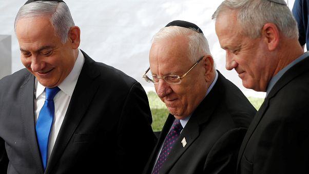 Benyamin Netanjahu, Reuven Rivlin és Benny Ganz