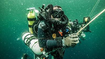 Lead diver Patrick Plantard . Amazon Reef Expedition French Guiana waters. September 2019.