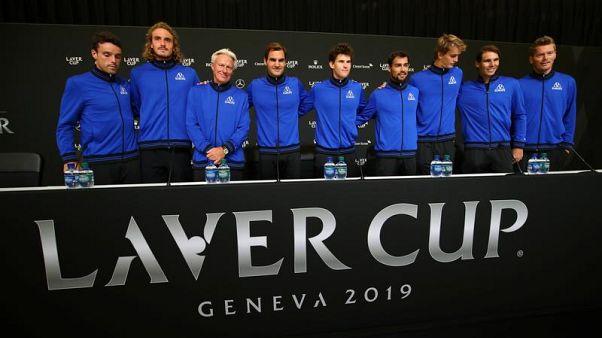 """Il Team Europe (con Fabio Fognini) per la """"Laver Cup"""" 2019."""