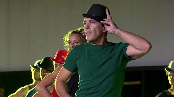"Antonio Banderas no palco de Málaga com ""A Chorus Line"""