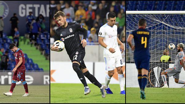 Beşiktaş, Trabzonspor ve Medipol Başakşehir UEFA Avrupa Ligi'nde ilk maçlarında mağlup oldu