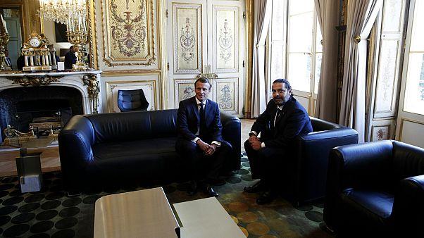 الرئيس الفرنسي إيمانويل ماكرون ورئيس الحكومة اللبنانية سعد الحريري في قصر الإليزيه بباريس